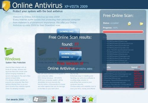 Ложный антивирус Online Antivirus XP-Vista 2009